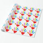 Rainbow Hand Print Gift Wrap Paper