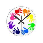 Rainbow Handprints Clock