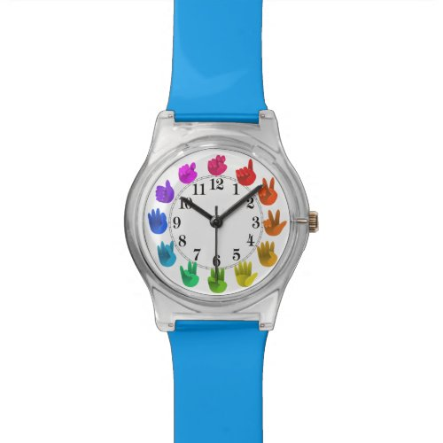 Rainbow hands asl numbers wrist watch