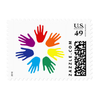 Rainbow hands postage