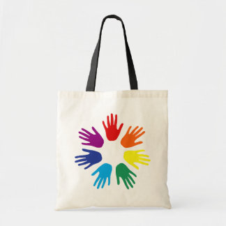 Rainbow hands tote bag
