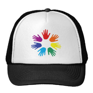 Rainbow hands trucker hat