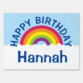 Rainbow Happy Birthday Yard Sign