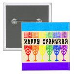 Rainbow Happy Chanukah Buttons