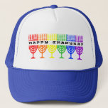 "Rainbow Happy Chanukah Hats<br><div class=""desc"">Happy Chanukah in a line of rainbow chanukiot (menorahs). A Jewish holiday design for Chanukah.</div>"