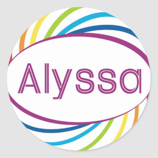 Rainbow happy frame Alyssa Classic Round Sticker