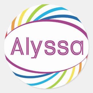 Rainbow happy frame Alyssa Classic Round Sticker