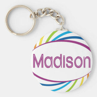 Rainbow happy frame Madison Basic Round Button Keychain
