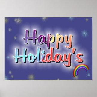 Rainbow Happy Holiday's. Poster