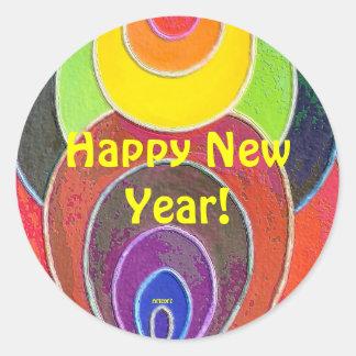 Rainbow Happy New Year Round Sticker