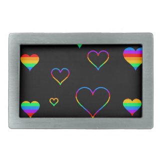 Rainbow harts rectangular belt buckle