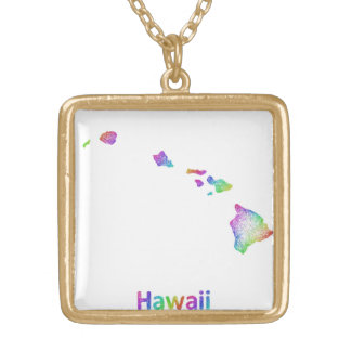 Rainbow Hawaii map Gold Plated Necklace