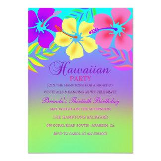 Rainbow Hawaiian Flower Birthday Invitation