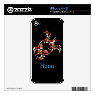 Rainbow Hawaiian Sea Turtle on Black Decals For The iPhone 4S