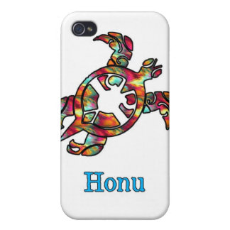 Rainbow Hawaiian Sea Turtle on White Case For iPhone 4