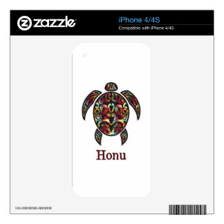 Rainbow Hawaiian Seaturtle on White Skin For iPhone 4