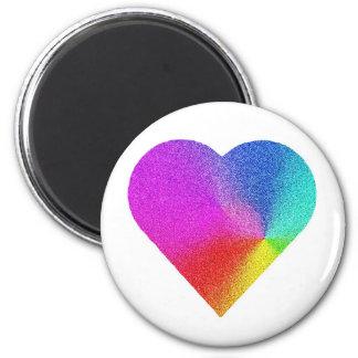 Rainbow Heart 2 Inch Round Magnet