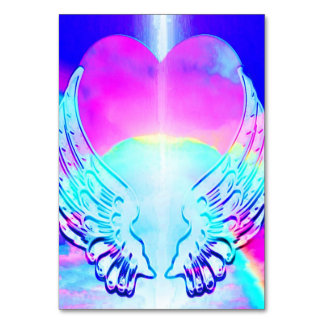 Rainbow Heart and Angel Wings Table Cards