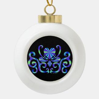 Rainbow Heart and Lily Ceramic Ball Christmas Ornament