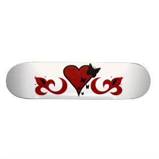Rainbow Heart and Lily Skateboard Deck