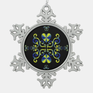 Rainbow Heart and Lily Snowflake Pewter Christmas Ornament