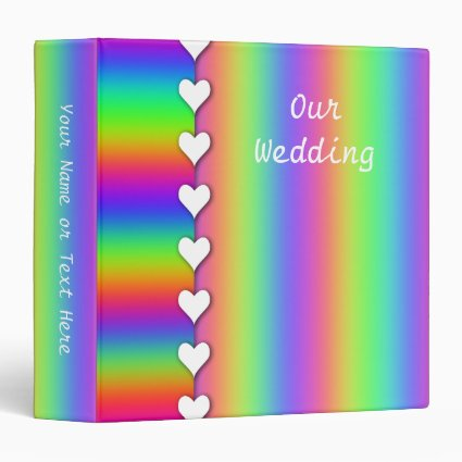 Rainbow Heart and Striped Wedding 3 Ring Binder