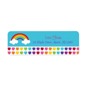 rainbow and clouds return address labels zazzle