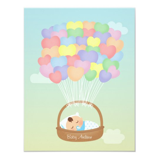 Rainbow Heart Balloons Boy Baby Shower Invitations