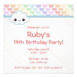 Rainbow Heart Birthday Invitation