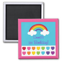 Rainbow Heart Birthday Party Favor Magnets