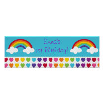Rainbow Heart Birthday Personalized Banner Sign