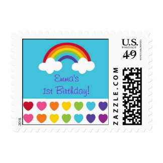 Rainbow Heart Birthday Postage Stamps