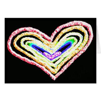 Rainbow heart blank greeting card
