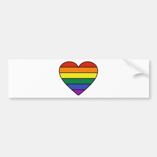 Rainbow Heart Bumper Sticker