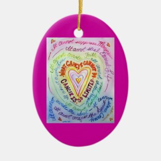 Rainbow Heart Cancer Cannot Do Ornament Customized