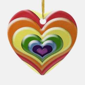 Rainbow Heart Ceramic Ornament