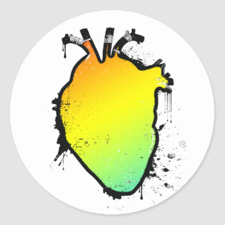 rainbow heart classic round sticker