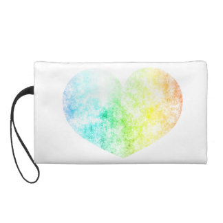 Rainbow Heart Cloud Background Customize Wristlet