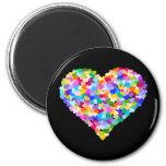 Rainbow Heart Confetti 2 Inch Round Magnet