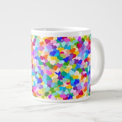 Rainbow Heart Confetti Extra Large Mugs