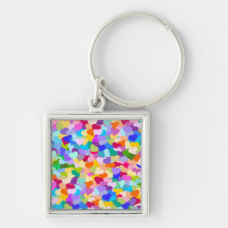 Rainbow Heart Confetti Key Chain