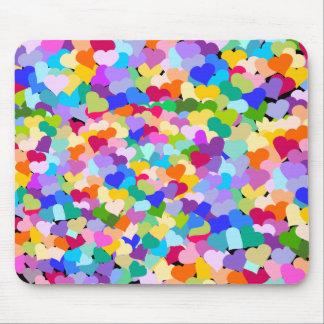 Rainbow Heart Confetti Mouse Pad
