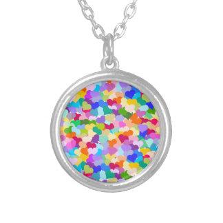 Rainbow Heart Confetti Round Pendant Necklace