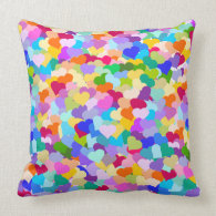 Rainbow Heart Confetti Pillow