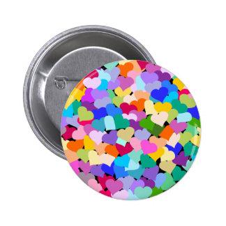 Rainbow Heart Confetti Pinback Buttons