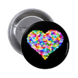 Rainbow Heart Confetti Pinback Buttons