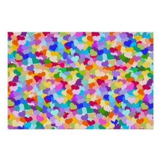 Rainbow Heart Confetti Print