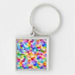 Rainbow Heart Confetti Silver-Colored Square Keychain