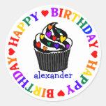 Rainbow Heart Cupcake-Birthday Round Sticker