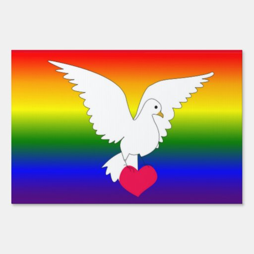RAINBOW HEART DOVE LAWN SIGN
